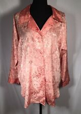 Victoria's Secret Vintage Satin Floral Button Down Pajamas Sleep Shirt Sz P/S
