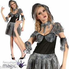 LADIES ADULT GOTH GOTHIC BRIDE BLACK ZOMBIE HORROR HALLOWEEN FANCY DRESS COSTUME