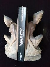 Superb Pita Maha Book Ends Fine Art Deco Wood Sculpture Mas Bali Women Statue