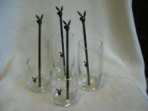 Vintage Playboy Bunny Drinking Glasses 2 High Ball, 2 Low Ball 4 Swizzle sticks