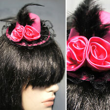 Hair Clip Lolita Victorian Derby Pink Mini Top Hat Folded Rose  Feathers Lace OS