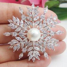 Austrian Crystal Silver Tone Snowflake Pearl Bride Wedding Flower Corsage Brooch