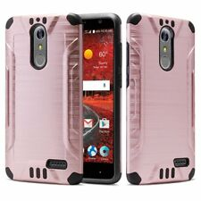 ZTE Grand X4 Case, Metal Texture Dual Layer Shockproof Bumper Case