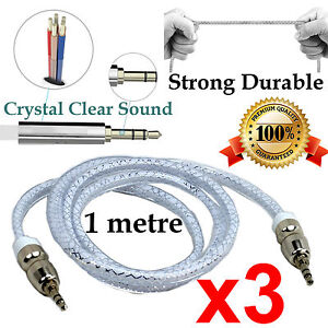 3 1m Strong AUX Auxiliary Cable 3.5mm Male to Male Stereo Audio Input for iPhone