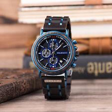 Aqueria Herren-Armbanduhr, Holzuhr, Chronograph, Blau, Sandelholz und Edelstahl
