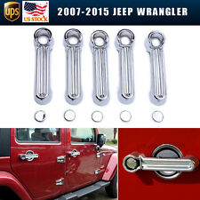 For 07-15 Jeep Wrangler JK 5pcs Chrome Side+Rear Door Handle Covers Trim Chrome