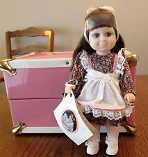 "Pink Metal Steamer Doll Case-Sticker Tag Still On-10"" x 6"" x 6"" w/Doll & Clothes"