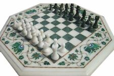 """12"""" marble chess game Table Top pietra dura art handcrafted inlay work decor"""