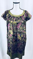 Maggy London Dress Women's Dress Silk Size 4 Green Purple Sheath Short Sleeve