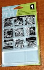 "ACRYLIC INKADINKADO STAMPS IN THE KITCHEN INCHIES  ~ stamps & 1"" x 3.75"" block"