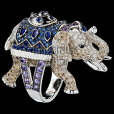 Antique Designer Elephant Ring Jewelry 4.05cts Rose Cut Diamond Gemstone Silver