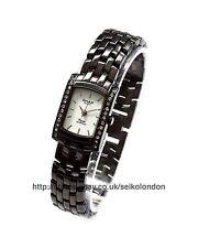 Omax Ladies Diamonte White Dial Watch, Black Finish, Seiko Movt. RRP £49.99