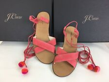 J. Crew F9680 $138 Suede Pom-Pom Sandals Lace Up In Coral MADE IN ITALY 6