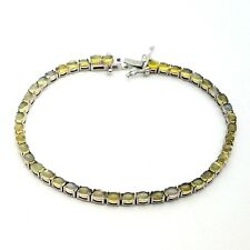 New 'Y' 925 Sterling Silver 3'mm Natural Yellow Fire Opal 7.5'In Tennis Bracelet