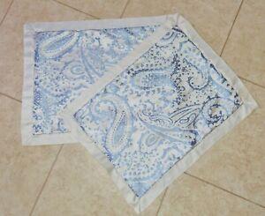 2 MARTHA STEWART COLLECTION Blue Grey Paisley Floral STANDARD Pillow Sham Cases