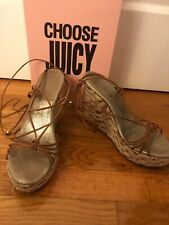 Juicy Couture Crochet Cork Wedge Wrap Up Platform Sandals 8.5 Made In Italy