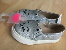 The Childrens Place Cat Silver Glitter Slip On Sneakers Toddler Girl Shoes 6 NEW