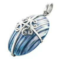 """1 9/16"""" BLUE MOTHER OF PEARL TURBO SHELL 925 STERLING SILVER pendant"""