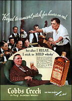 1937 Cobbs Creek Whisky Orchestra Conductor relaxing vintage photo print ad L15