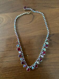 Vtg WEISS Aurora Borealis Red Rhinestone Gold Tone Link Choker Necklace Signed