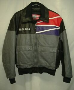 Vintage Yamaha Leather Snowmobile Jacket Men's Size Medium Black Gray Red Purple