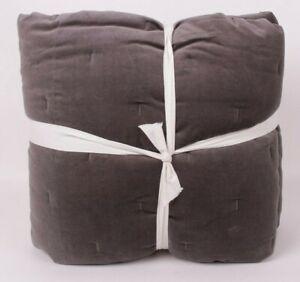 west elm Cotton Velvet Tack stitch king quilt, gray