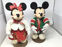 "Disney Santas Best Mickey & Minnie Mouse 17"" Animated Christmas Figures 1950s"