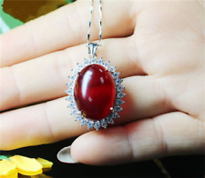 Top quality Big Oval Cut Pigeon Blood Red Ruby sterling silver Pendant Necklace