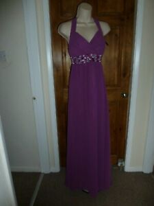 Pretty purple chiffon beaded detail evening dress from Amelia size 18