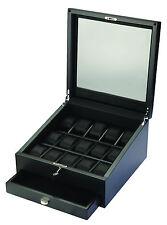 Volta 15 Watch Case w/ Storage Drawer  Black Interior & Carbon Fiber Finish