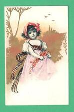 1907 CHROMO ART POSTCARD BEAUTIFUL GIRL PINK DRESS FLOWERS BIRDS