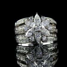 QVC Diamonique Ring Sterling Silver 2.10 cttw Mixed Cut Flower Size 7 Sold Out