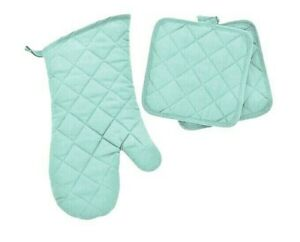 SET OF 3, Oven Glove & Cooking Pot Holders Thick Heat Resistant Mitts LIGHT BLUE