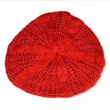 Women Berets Beanie Chunky Knitted Hats Crochet Slouchy Woolen Winter Ski Caps