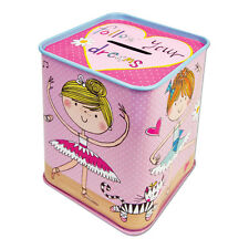 Ballerina Money Tin - Box Bank Pink Childrens Girls Gift Moneybox Rachel Ellen