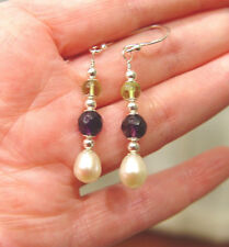 Suffragette Freshwater Pearl Amethyst Peridot Gemstones Sterling Silver Earrings
