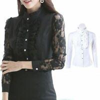 Women Long Sleeve Floral Lace Shirt Elegant Top Victorian Blouse Ruffle Vintage
