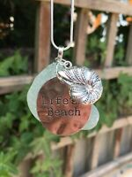 Sea Glass Pendant With Life's A Beach And She'll Charm on 925 silver snake chain