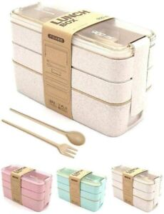 3 Layers Lunch Box Kids Adult Fork Dinnerware Food Storage Microwave Container