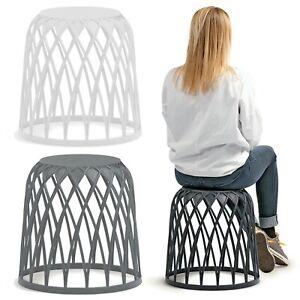 Plastic Round Stool Stackable Indoor Outdoor Chair Furniture Home Garden Patio