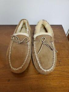 L.L. Bean Suede Sheepskin Men's Moccasin Wicked Good Slippers Brown Size 11.M