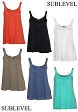 Lockre Sitzende Ärmellose Damenblusen,-Tops & -Shirts mit Rundhals und Baumwolle