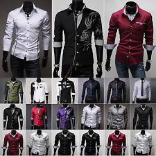Mens Luxury Slim Fit Shirts Long Sleeve Work Formal Suits Business Fashion Dress