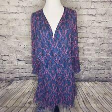 Joie Silk Chiffon Art Deco Kleeia Midi Dress Freesia Lined Tassles Size Small