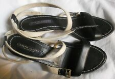 RALPH LAUREN  escarpins  cuir noir / brides écru - 9 B = T 40 FR-   superbes !!!
