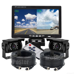 """7"""" Dual Splitscreen Monitor + 2x 4PIN 18 IR CCD Color Rear View Camera For Truck"""