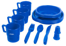 Andes Large 4 Person Plastic Camping/Picnic Plate, Bowl, Mug & Cutlery Set