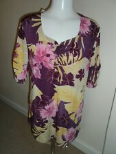Bnwt new Kim & co ladies floral purple mix top size Large