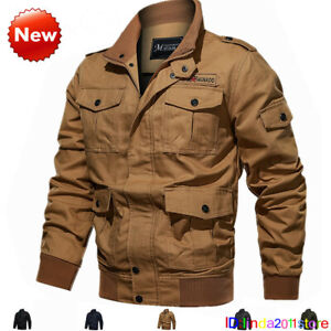 Men's Cotton Bomber Jacket Stand up Cargo Coats Army Man Outwear MA-1 Jackets