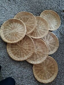 Vtg Lot of 8 Wicker Rattan Bamboo Paper Plate Holders basket wall decor BK CHINA